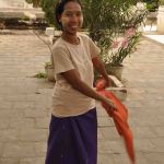 Verkoopster bij tempel in Bagan